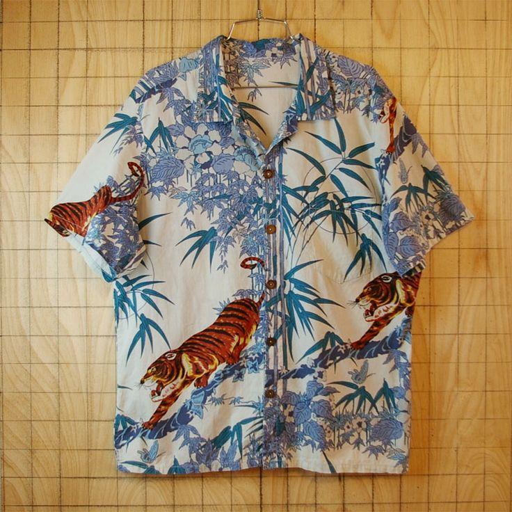 古着ホワイトトラ・竹林総柄ハワイアン・アロハ半袖コットンシャツ|メンズM相当