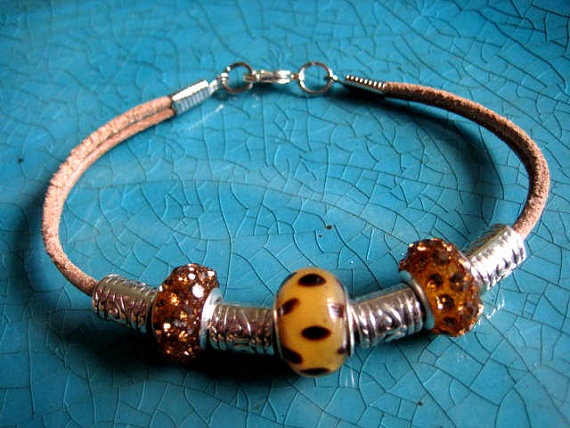 """Natural Leather Stacking Bracelet with Leopard European Bead, Topaz Crystal Beads & Silver Accents """"FREE SHIPPING""""   by LeatherDiva, $18.00: Free Ships, Topaz Crystals, Crystals Beads, Leopards European, Accent Free, Natural Leather, Crystal Beads, Leather Stacking, European Beads"""
