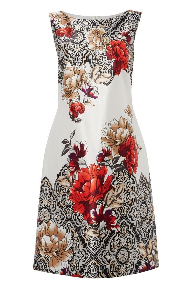 Roman - Baroque Floral Print Dress Wedding Occasion Smart Shift Knee Length Red