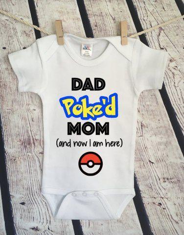 fc37bcbb6 Dad Poke'd Mom Pokemon Gamer Xbox Baby Onesie Romper Raglan Gamer Xbox  Funny Snarky Fortnite Victory Battle Royale #1