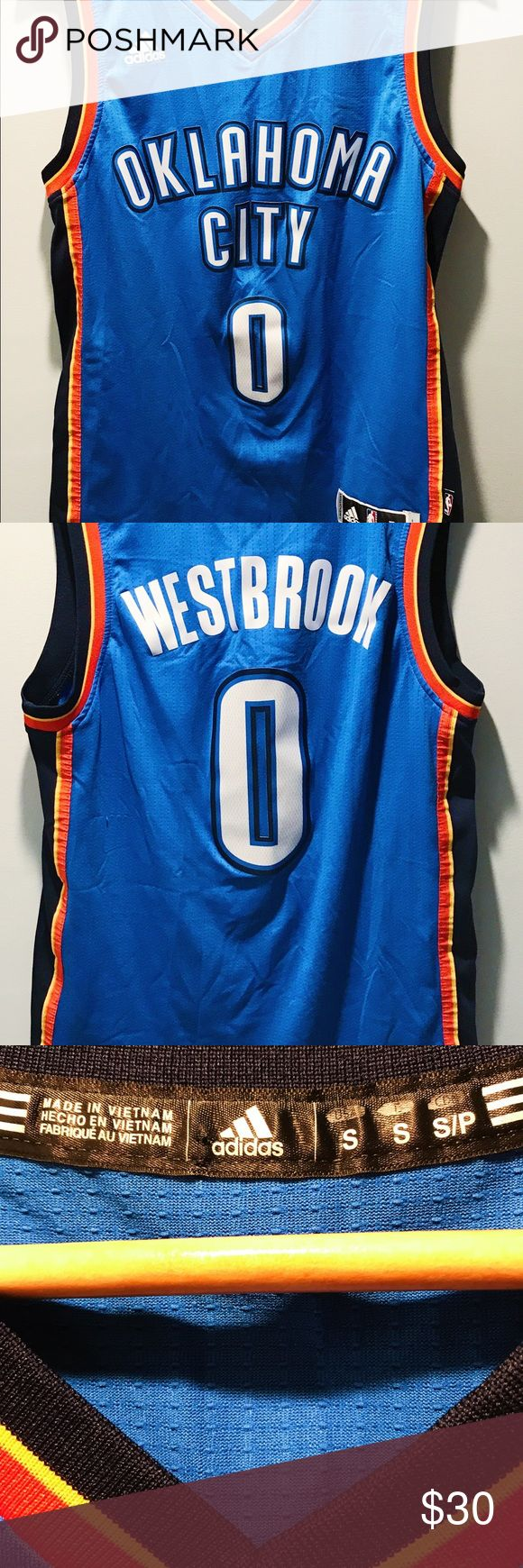 Russell Westbrook OKC Thunder NBA Jersey Russell Westbrook Oklahoma City Thunder NBA Basketball Jersey OKC Blue SmallMen adidas Shirts Tank Tops