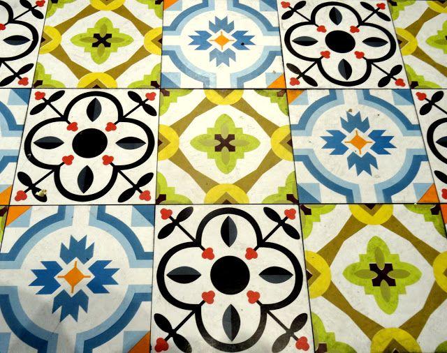 Beautiful floor tiles in the cafeteria restaurant in Xiamen, China