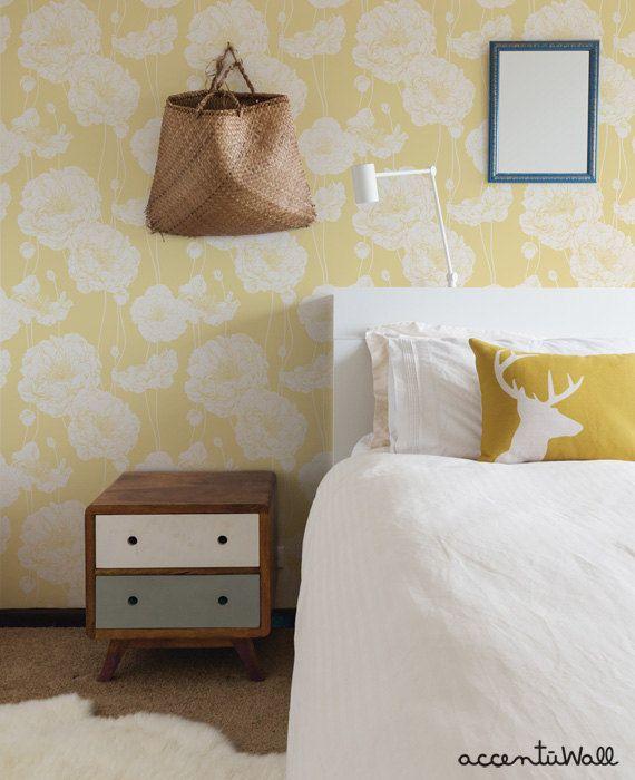 Peony Light Yellow Peel & Stick Fabric Wallpaper ...