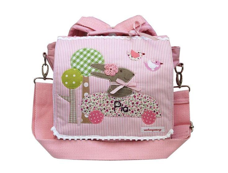 Kindergartentaschen - Kindergartenrucksack mit Namen - Rosa Hasenrennen- - ein Designerstück von wohnzwerg bei DaWanda
