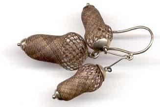 acorn motif earrings made of multicolor hair   circa 1840-60