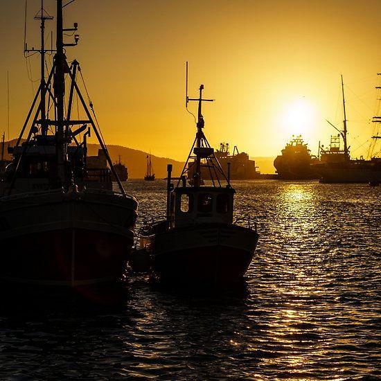 Sunset in port of Bergen, Norway.
