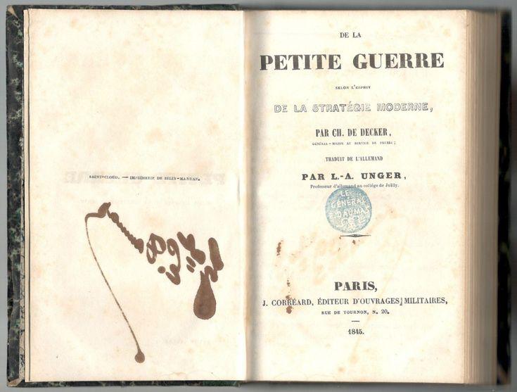"""Decker, """"De la petite guerre"""", Paris, J. Corréard, 1845. Page de titre intérieure."""