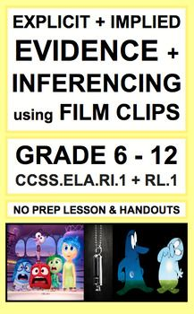 Inferencing with VIDEOS: Lesson Plan & Activities NO PREP:Use short film clips to teach students to make inferences and to cite implicit and explicit evidence for secondary reading literature and reading informational texts. Introduce, Practice & Assess: CCSS.ELA.RI.1 & CCSS.RL.1 (GRADES 6-12)! Cite strong and thorough textual evidence to support analysis of what the text says explicitly as well as inferences drawn from the text. Pixar shorts to teach reading and inferencing