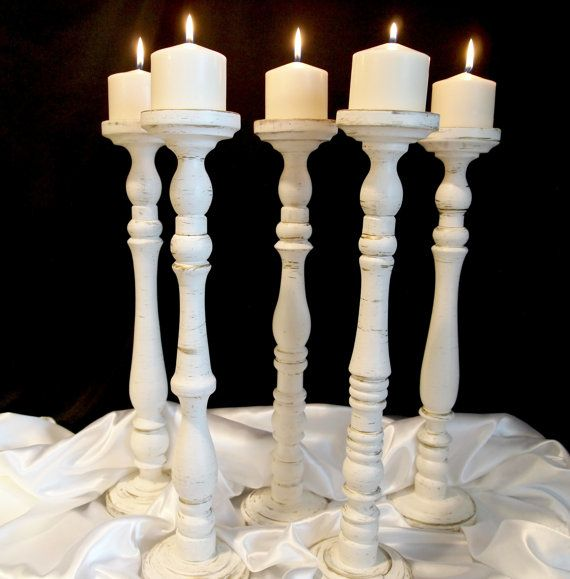 20 Inch Elegant Wedding Pillar Candle Holder Set of Five on Etsy, $175.00