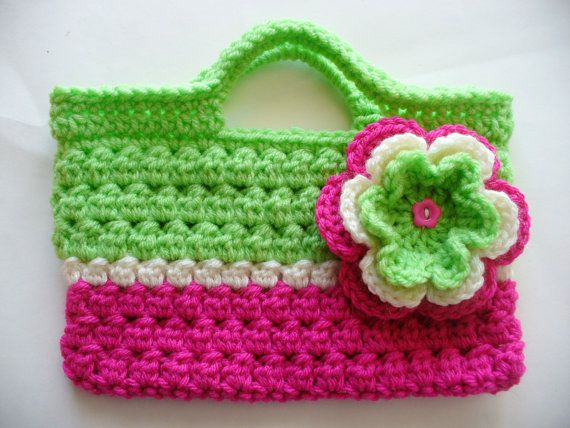 Crocheted Lime Green Fushia & White Bag by ACCrochet on Etsy,