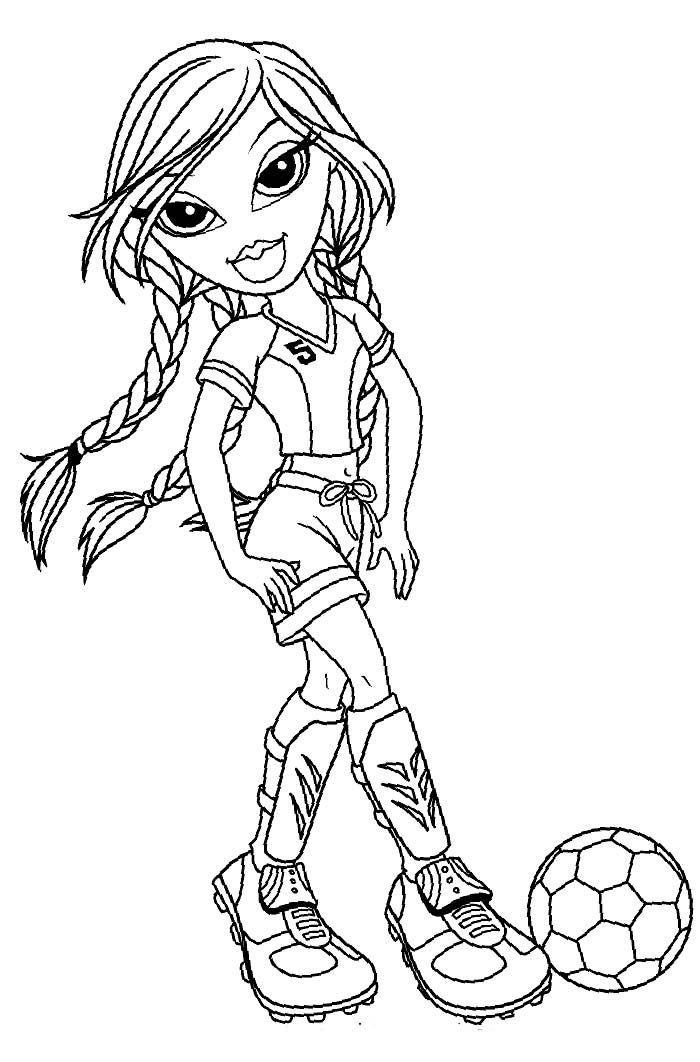 Jade Bratz Playing Football Coloring