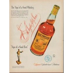 """1953 Old Taylor Ad """"The """"Sign"""" of a Good Whiskey"""""""