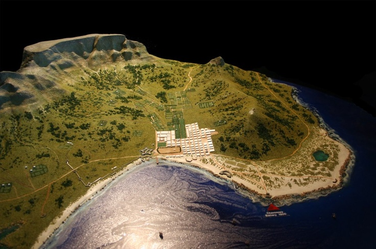 A model of Cape Town in 1800 as seen from an elevated position to the East of the fortified town. The original model is from the Chavonnes Battery Museum