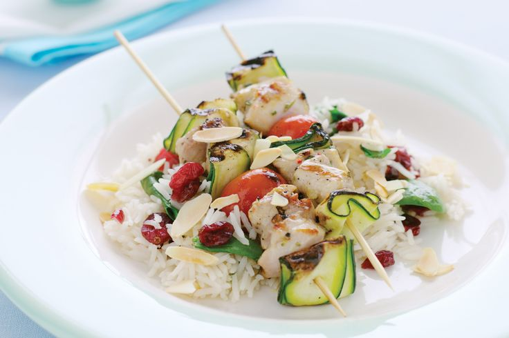 Flavoured with rosemary and garlic, these lightly marinated low-fat skewers are ready in a matter of minutes. Serve with Craisin and almond pilaf for a complete weeknight meal.