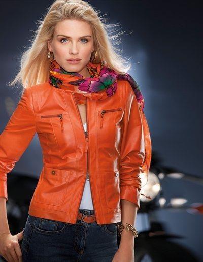 Оранжевая кожаная куртка