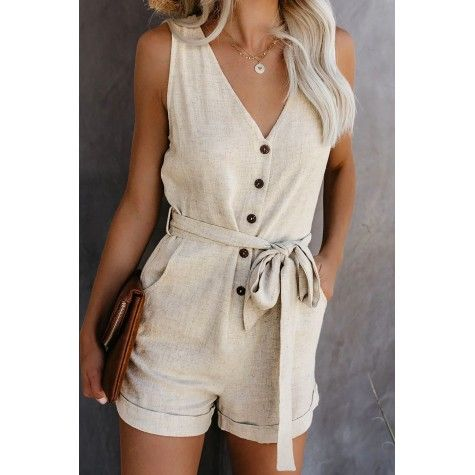 LoVnely Women Summer V Neck Ruffles Sleeveless Drawstring Belt Short Jumpsuit Rompers with Pockets