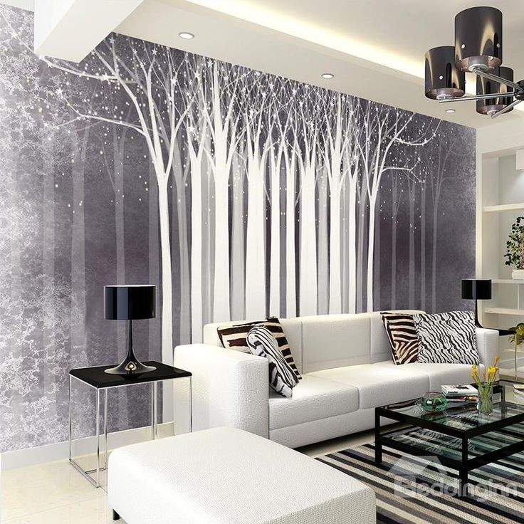 White Tree Pattern Simple Style Home Decorative Waterproof ...