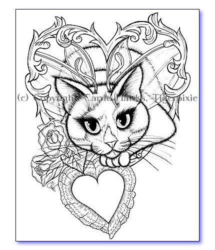 valentine tuxedo fairy cat fantasy art 6 coloring
