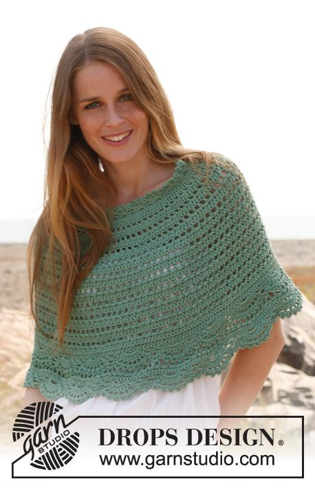 "Spearmint - Poncho en ganchillo DROPS, en ""Muskat"". Talla: S – XXXL. - Free pattern by DROPS Design"