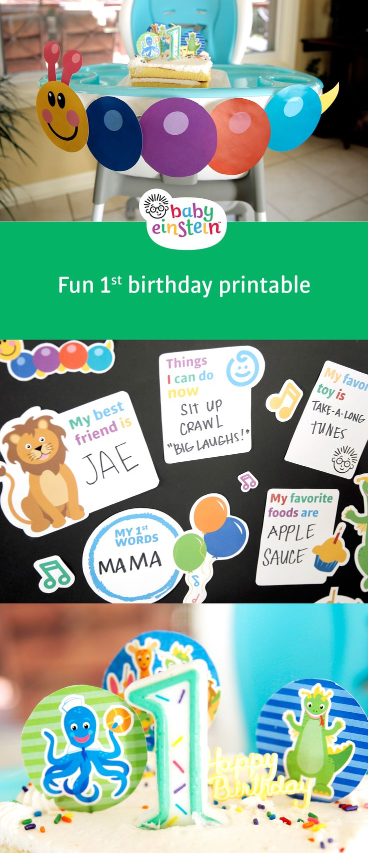 Adorable printables for your Baby Einstein 1st Birthday Party! Get printables now!