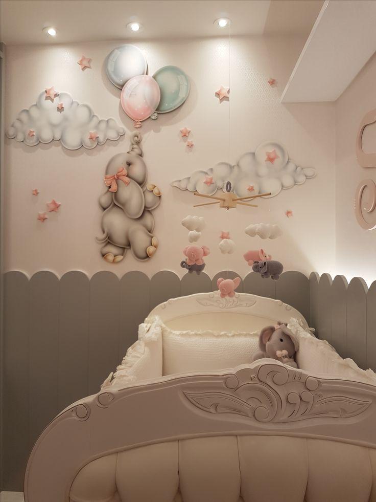 Este quarto de bebê com motivos de elefante ♥ tem como foco principal o moderno armário de laca cinza, que compõe com todos os detalhes. – Costalonga Arquitetura – Interiores   – Kinderzimmer Ideen