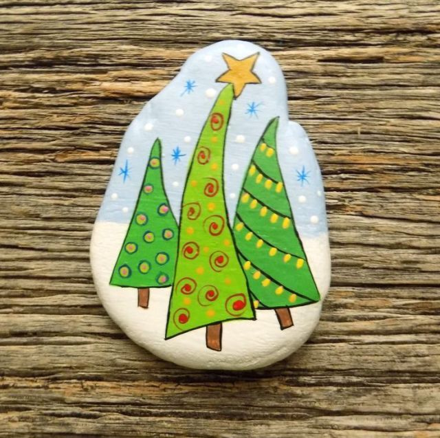 Whimsical Trees Painted Rocks Decorative Accent Stones Paper