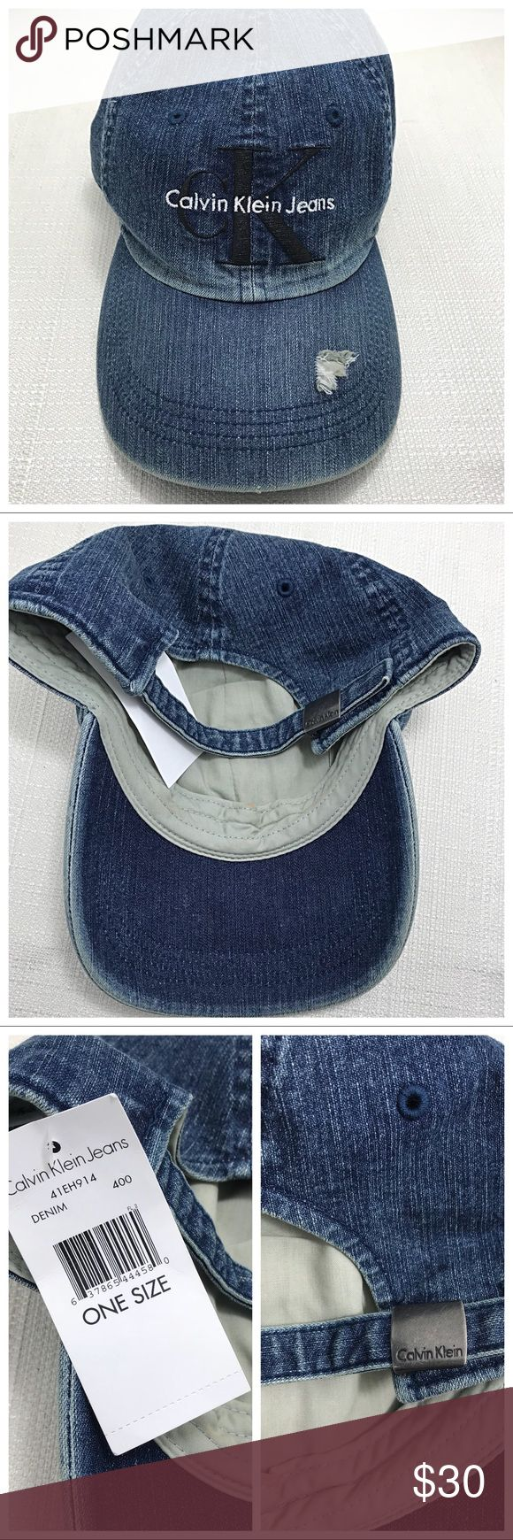 NWT | Calvin Klein Denim Hat Classic baseball style hat by Calvin Klein. Denim construction with black and white logo embroidered detailing, factory distressing on brim. Adjustable back. 100% cotton. NWT - excellent condition Calvin Klein Jeans Accessories Hats