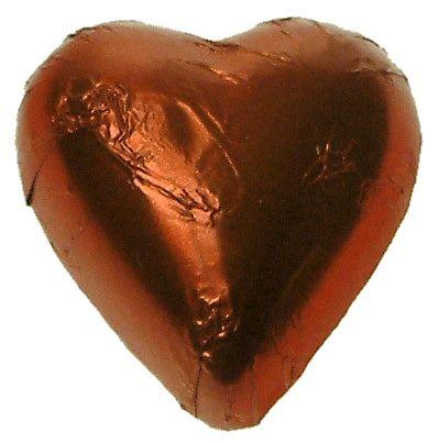 A bag of 100 Bronze Orange Foil Chocolate Hearts.