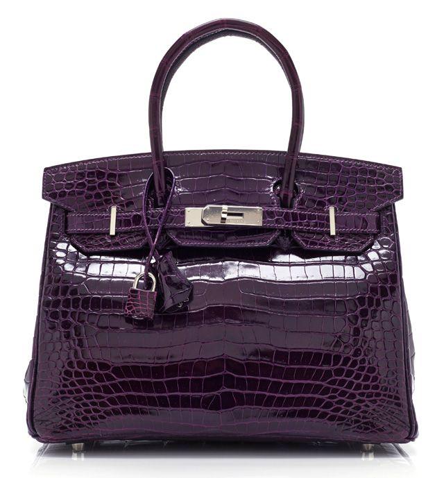 Hermes Purple Crocodile Birkin   020915