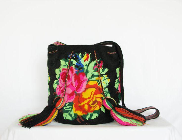Black multi color wayuu mochila/bag with rose motive by GreenDatum on Etsy