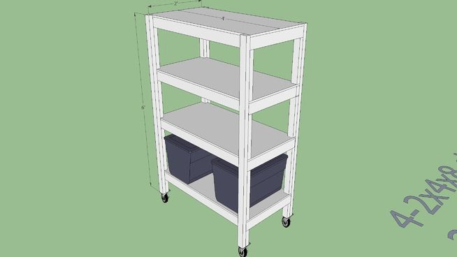"""Heavy duty shelving unit for the garage, On 6"""" casters to easily move around the garage for cleaning or reorganizing. Holds about 1,000 lbs of whatever. Uses only simple, straight cuts, standard handtools and dimensional wood found at Lowes or Home Depot, etc. #6x4x2 #DIY #heavy_duty #shelves #simple #wood"""