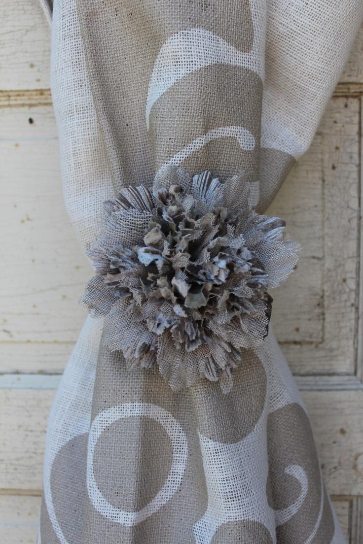 Fabric curtain tie backs - Couture Dreams Fleur De Natural Fabric Flower Makes For A Beautiful Curtain Tie