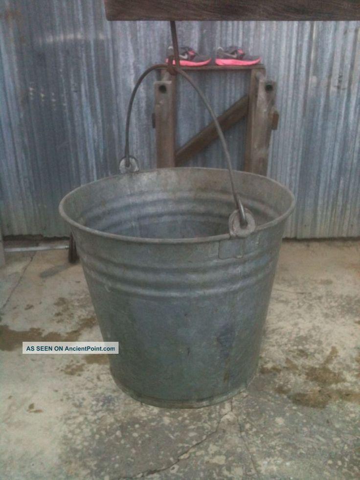 Old vintage galvanized metal farm barn pail bucket 12 for Galvanized well bucket