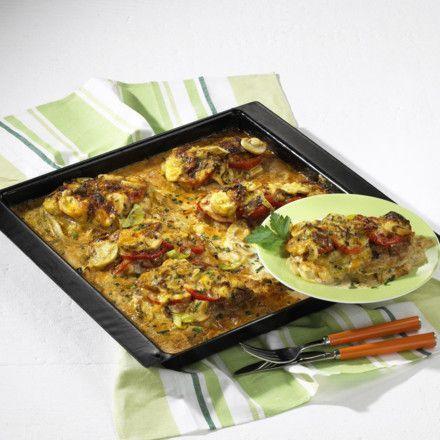 Saftige Schnitzelpizza (besser schmecken frische Champignons. In Scheiben schneiden, in Fett andünsten und wie im Rezept angegeben weiterverwenden.)
