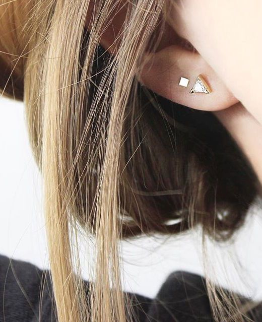The Trillion Earrings + The Square Stud Earrings. 14k solid gold, perfect even for sensitive ears. www.vraiandoro.com