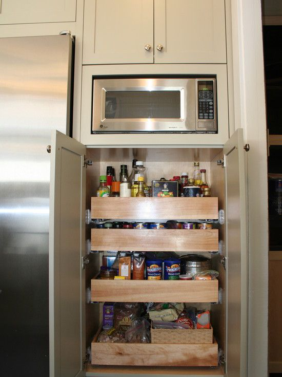 Kitchen Microwave Storage Design Over Small Pantry