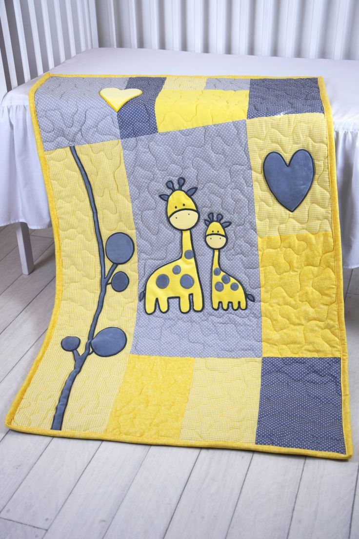 Baby Boy Blanket, Giraffe Jungle Quilt, Safari Nursery Bedding, Yellow Gray Baby Room Decoration