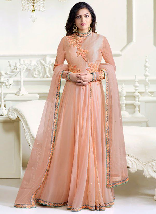 Drashti Dhami Peach Floor Length #Anarkali Suit