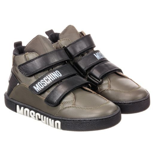 bccc6ead588adc Moschino Kid-Teen - Green Leather High-Top Trainers