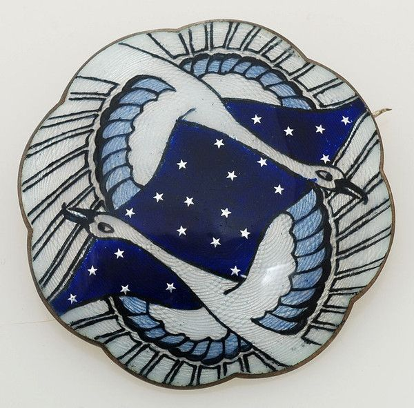 """A spectacular antique Gustav Gaudernack of Norway guilloche enamel & sterling silver brooch. Excellent condition. Measures 2"""" (50mm) in diameter. Marked on"""