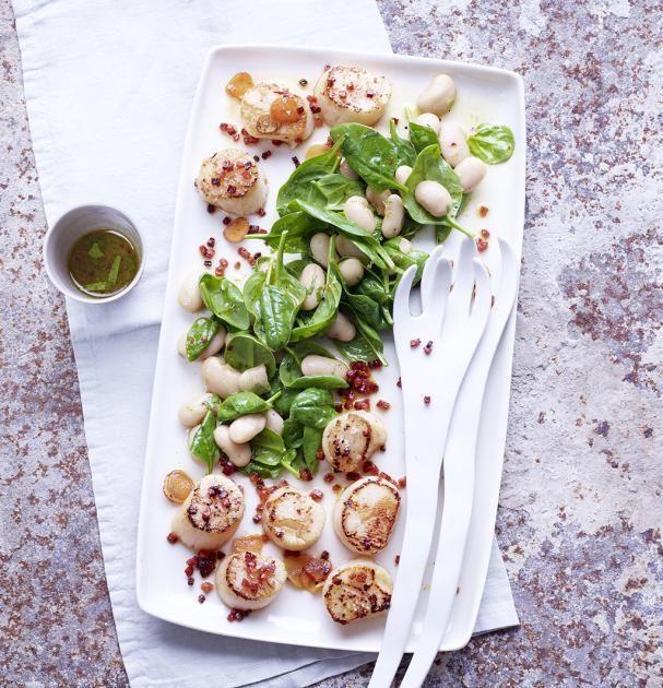 bohnen spinat salat mit jakobsmuscheln rezept food. Black Bedroom Furniture Sets. Home Design Ideas