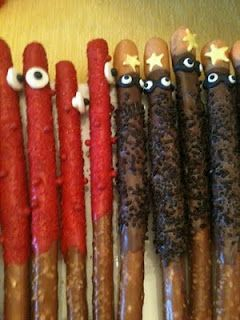 Muno and DJ Lance Rock pretzel rods, Yo Gabba Gabba, birthday party idea