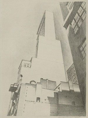 6 Tips on How to Draw Anything Accurately - Artist Daily - Delmonico Building by Charles Sheeler, 1926, lithograph drawing.