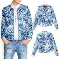 Quilter bomber-like, this time in blues... Fashion New Retro Women's Floral Print Short Jacket Thin Padded Coat Outwear