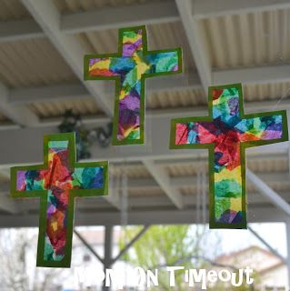 ~~Christian Crafts for kids~~Stained Glass Cross~~