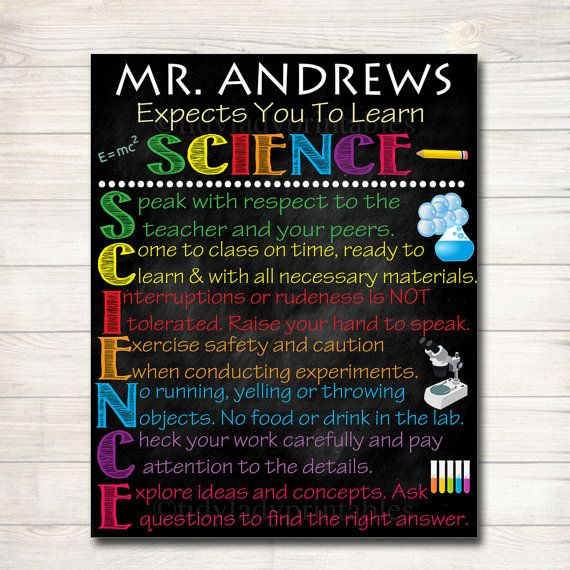 Custom Science Classroom Rules for Science Classroom Decor! A cute way to add personality and bright, fun personalized decor to your Science classroom! An awesome way to welcome students to the new school year and remind them of your science class expectations! Note: THIS IS A DIGITAL PRODUCT. NO PHYSICAL ITEM WILL BE SENT TO YOU. • Watermark will not appear on your files File Format: 300 dpi .JPEG image. You choose the size at checkout! NOTE: this listing does not include any changes to…
