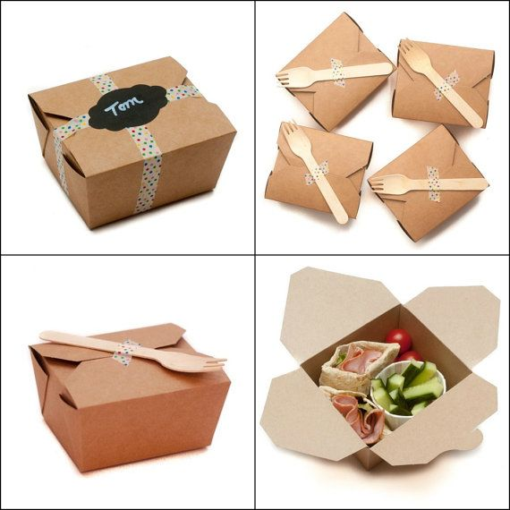 50 Kraft Lunch Party Food Boxes for Cakes, Food, Party bags or Bento Boxes, Picnic, Wedding, Gifts, Eco Friendly on Etsy