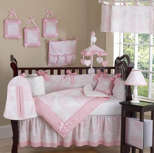 Pink and White French Toile Baby Bedding - 9 pc Crib Set ---would work in a pink and gray nursery