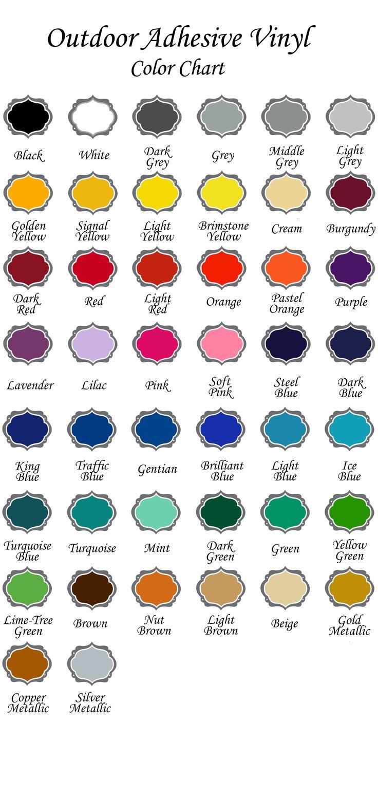 9 best Vinyl Color Charts images on Pinterest | Cricut vinyl, Custom ...