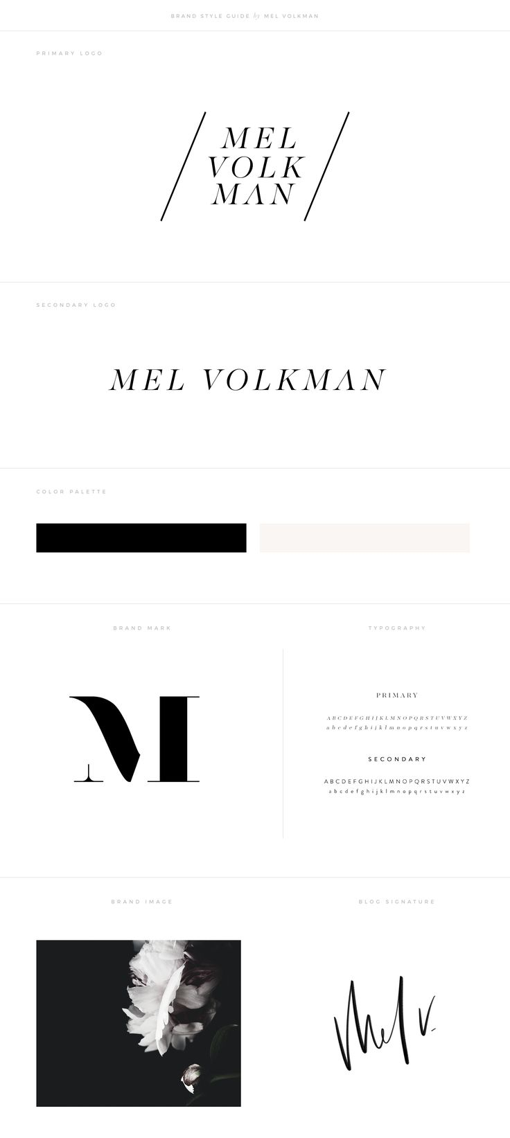 The mid century modern style is hugely popular right now and rightly - Mel Volkman Brand Style Guide Modern Branding Custom Logo Monogram Design Professional Design Beautiful Branding Modern